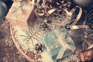 Christmas composition with presents and decoration