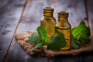 Mint oil in small bottles