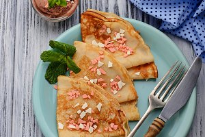 Crepes with chocolate chips