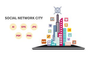Social Network City Concept