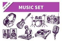 Hand Drawn Dj Music Sketch Set
