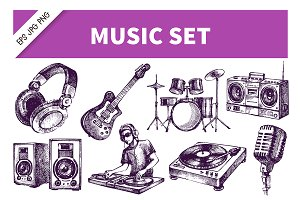 Hand Drawn Dj Music Sketch Set
