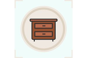 Nightstand color icon. Vector