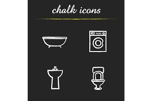 Bathroom interior. 4 icons. Vector
