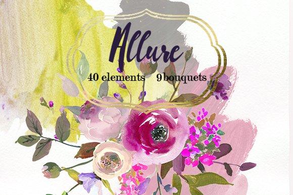 Pink purple watercolor flowers set illustrations creative market mightylinksfo