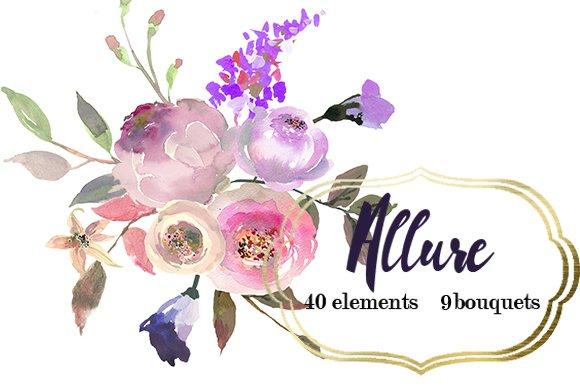 Pink Purple Watercolor Flowers Set Illustrations Creative Market