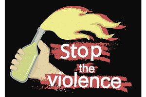 Stop the violence logo. Vector