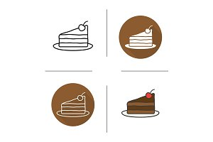 Chocolate cake. 4 icons. Vector