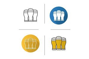 Three beer glasses. 4 icons. Vector