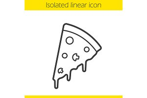 Pizza slice linear icon. Vector