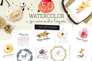50 Premade Watercolor Logos