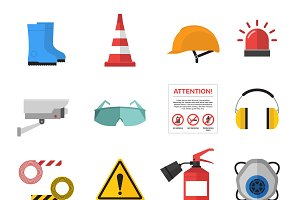 Safety work icons flat style vector