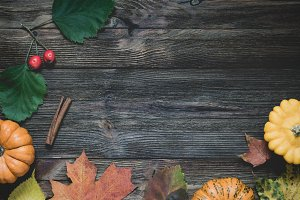Moody autumn wooden background