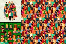 Group of Young People. Vector Set.
