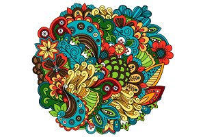 Ethnic doodle floral zentangle