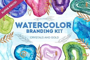 Watercolor crystal branding kit