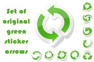 Set of original green sticker arrows
