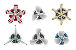 Aircraft propeller turbines icons