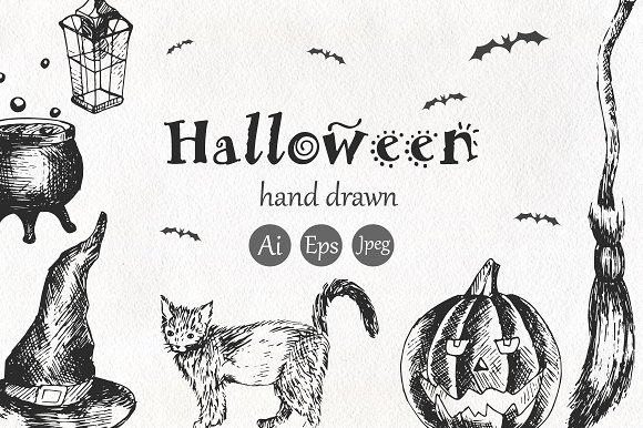 Halloween. Elements and pattern - Objects