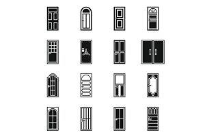 Door icons set, simple style
