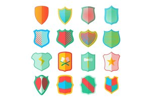 Shield icons set in flat style