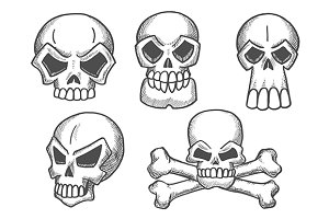 Skulls sketch icons