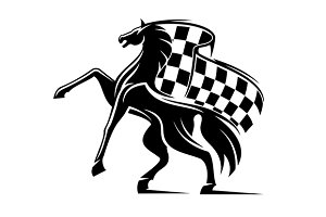 Horse with checkered flag
