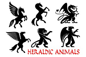 Heraldic mythical animals icons
