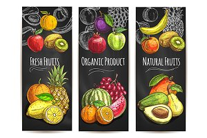 Fresh natural organic fruits banner