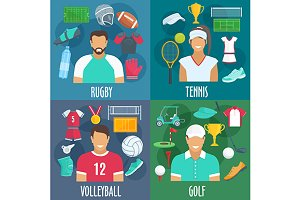 Rugby, tennis, volleyball golf sport