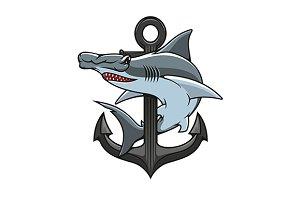Hammer-head shark and anchor