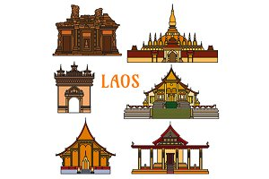 Laos landmarks and temples