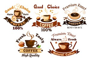 Hot coffee cups icons