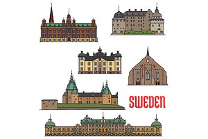 Landmarks icons of Sweden