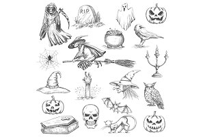 Halloween characters sketches