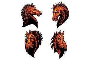 Furious horse head mascots