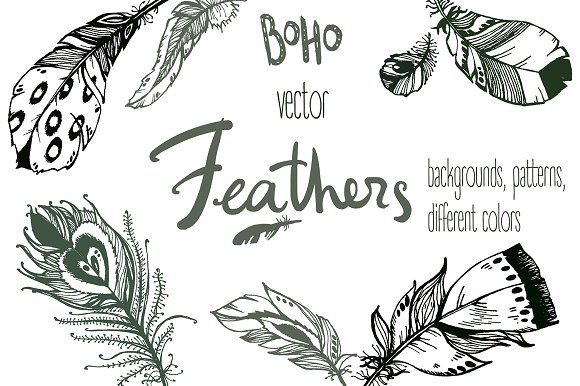 Vector boho feathers. Designs. - Objects