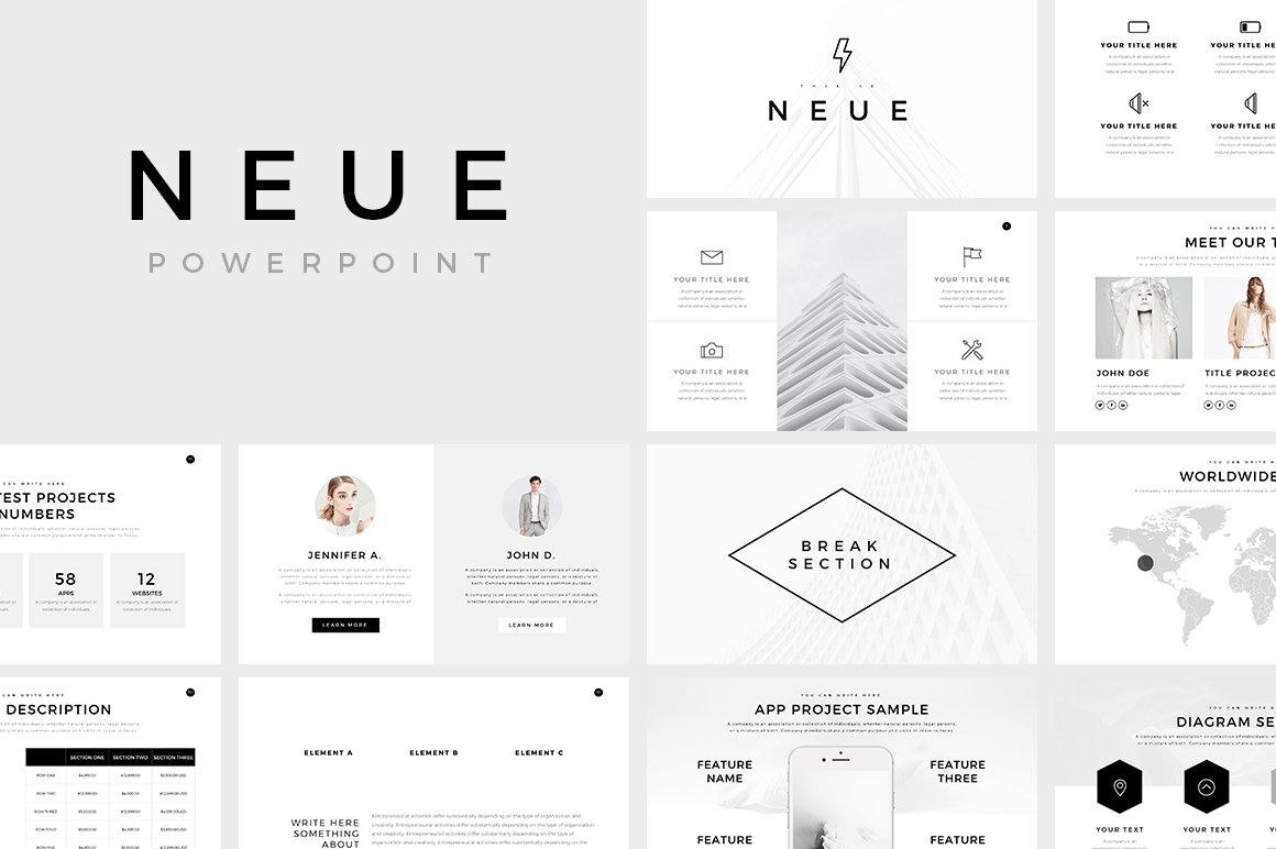 neue minimal powerpoint template presentation templates creative market. Black Bedroom Furniture Sets. Home Design Ideas