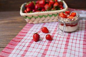 srawberries and kitchen towel
