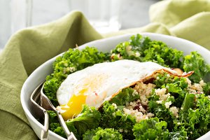 Fresh healthy salad with kale and quinoa