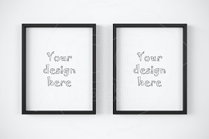 Set of 2 basic black frame mockup