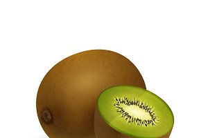 Realistic vector juicy kiwi on white