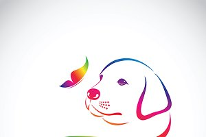 Vector of dog and butterfly