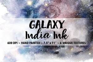 Galaxy India Ink Wash Backgrounds