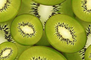 Slices of bright juicy kiwi