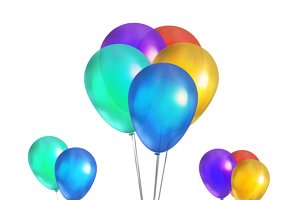 Glossy colorful balloons on white