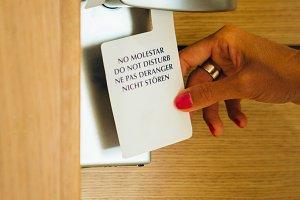 Do not disturb sign on door handle