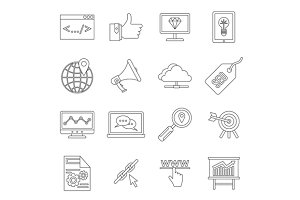SEO icons set, outline style