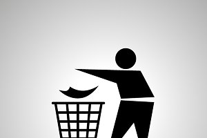 Man throwing garbage icon