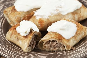 Pancakes with minced meat